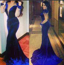 Wholesale Velvet Evening Gowns Crystals - 2015 Royal Blue Evening Dresses Sheer Crew Neckline Beading Illusion Long Sleeves Beading Mermaid Velvet Court Train Evening Gowns Dhyz 01