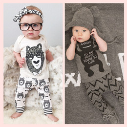 Wholesale Cartoon Cute Girl Suits - NWT 2016 Cute Cartoon Bowtie Bear Baby Girls Boys Outfits Set Summer Sets Boy Cotton Tops + Boys Harem Pants 2pcs Suits