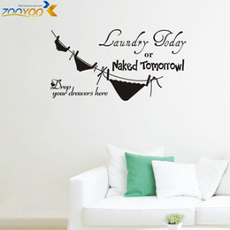 Wholesale Naked Vinyl - laundry today or naked tomorrow underwear laundry room wall stickers home decorations zooyoo8295 diy removable wall decals