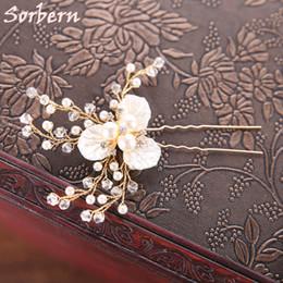 Wholesale pearl stick pins - 6 PCS Gold Color Flower Leaf U Shape Hair Sticks Pearl Clip Vintage Hair Pins Wedding Accessories Crystal Bridal Head Piece