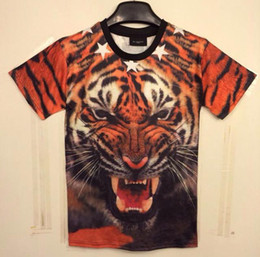 Wholesale Tiger 3d Tshirt - w151212 [Mikeal] New Fashion men's 3D t-shirt funny printed animals Roar Fierce Mighty tiger top tees Tshirt DT24