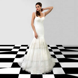 Wholesale Affordable Sweetheart Wedding Dresses - Affordable Sweetheart Ruched Bodice with Appliques Tiered Organza Mermaid Wedding Dresses 2015 Lace