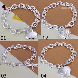 Wholesale European Beads Sterling Silver Wholesale - Mix 4 Style 925 Silver Links Chain Fit Hollow Heart Double Heart Dragonfly Pendant Charm Bracelets Jewelry Women's Bracelets Gift