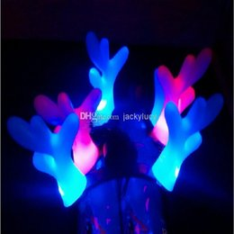 Wholesale Cheap Xmas Toys - Cute Antlers Hair Hoop LED Lighted Toys For Adults and Children Xmas Party Holiday Rave Cheer Gift Toy Cheap Sale