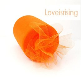 "Wholesale Orange Tulle Roll Spool - New Arrivals- 4 Rolls 6""x100y Orange Color Tulle Rolls Spool Tutu DIY Craft Wedding Banquet Fabric Wedding Car Decor-Free shipping"