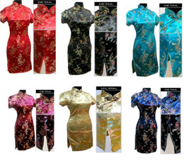 Wholesale Sexy Cheongsam Mini - free shipping new arrival chinese traditional dress Qipao Dragon phoenix print silk short cheongsam chinese dress Qipao vintage dress J406X