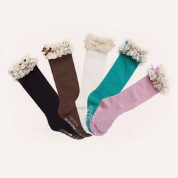 Wholesale Knee High Socks For Toddlers - girl autumn socks kids toddler knee BOOT high socks with lace baby leg warmers cotton meias christmas socks for children