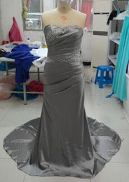 Wholesale Strapless Navy Gown - 100% Real Image Cheap Evening Gowns Plus Size A line Floor Length Sweetheat With Beading Prom Dress Classic Vestido De Festa Curto Dress