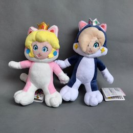 "Wholesale Super Mario Bros Peach Plush - Hot New 2Pcs Lot 8""-9"" 20CM-23CM Cat Peach Rosalina Plush Doll Super Mario Bros Anime Dolls Gifts Stuffed Soft Toys"