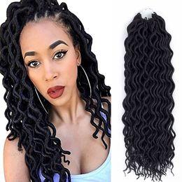 "Wholesale Hair Braids Black Women - 18"" 22"" Curly Goddess Faux Locs Crochet Hair Deep Wavy Faux Locs Crochet Bradis Synthetic Braiding Crochet Hair For Black Women"