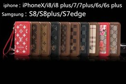 Wholesale Iphone Flip Leather - Luxury brand fashion printing leather wallet flip phone case for iPhoneX 7 6 6S 8 8plus with hand rope TPU cover for Samsung S8 S8plus S7edg