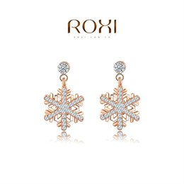 Wholesale Christmasgift Plates - 015 ROXI ChristmasGift New Fashion Jewelry Rose Gold Plated Statement Snow Flower Earrings For Women Party Wedding Free Shipping