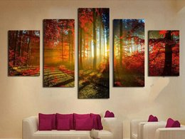 Wholesale Canvas Paint Autumn - Forest and Sunset Sunlight Autumn Red Woods 5 Panel Canvas Print Painting Modern Wall Art Unframed Painting Home Decoration