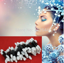 Wholesale Make Up Double Head Brush - Wholesale-NEW Disposable Make Up Eye Shadow Applicator Brush double-headed sponge eye shadow brush (100pcs lot) + Free shipping