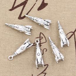 Wholesale 9mm Charms - 50pcs Charms rocket 24*9*9mm Antique,Zinc alloy pendant fit,Vintage Tibetan Silver,DIY for bracelet necklace