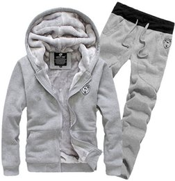 Wholesale Cotton Black Tracksuits For Men - New Arrival 2015 Tracksuit for Man Casual Spring Autumn Thicking Hoody Fur Lining Fleece Hoodies Pant Men's Sports Clothing Sets Sweat Suits