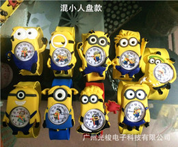 Wholesale Slap Watched - 2015 Despicable Me slap watch 3D Cartoon Big Eyes Yellow minion Precious Milk Dad Children Kids Gifts Slap Watch Wristwatch 558