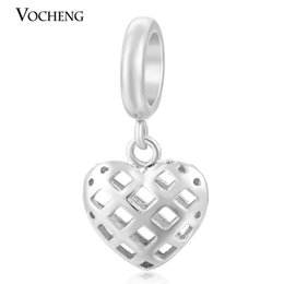 Wholesale garden plates - VOCHENG Endless Charms Hollow out Heart Real Gold Plating Brass Material Charm for 6mm DIY Garden Bangle VC-060
