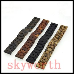 Wholesale Wholesale Wooden Watch Boxes - Natural Wood Watch Band Sandalwood Wrist Wooden Strap For Apple 42MM 38mm With Adaptor Retail Box