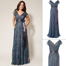 Wholesale Evening Gowns Wholesale Sleeves - Maternity Dresses For Special Occasions Lace Pregnant V-neck Cap Sleeves Evening Party Gowns 2016 Long Floor Length Custom Made Dress