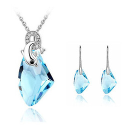 Wholesale Aqua Mix Gold - Sterling Silver Necklace Sets Earrings Gold Plated Dolphines Crystal Wish Stone Charms Necklaces Drop Earrings Jewelry Sets 12 Sets Lot MG