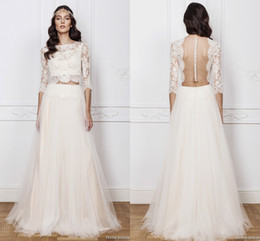 Wholesale White Boho Top - Bateau Neck 3 4 Long Sleeve Boho Wedding Dresses Two Pieces Lace Crop Top Sheer Beach Bridal Gowns Ruffled Tulle Vestidos De Noiva