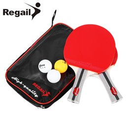 Wholesale Shaking Table - REGAIL Table Tennis Ping Pong Racket Two Shake-hand grip Bat Paddle Three Balls Light Tip Heavy Handle Table Tennis Racket HOT +B