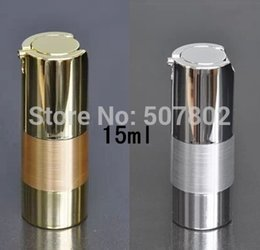 Wholesale Used Airless - high quality QE 15ML UV silver airless vacuum pump lotion bottle with silver line used for Cosmetic packing