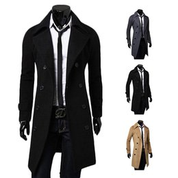 Wholesale Mens Coat Korean - S5Q Mens Long Section Woolen Coat Windbreaker Korean Double Breasted Slim Jacket AAADXH
