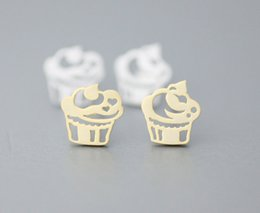 Wholesale Ship Cake Tin - Fashion Cute Cup Cake studs earrings Jewelry For Women wholesale free shipping 18K Gold Plated Delicate