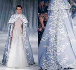 Wholesale White Cloak For Wedding - Paolo Sebastian 2016 Wedding Jacket Wrap For Bride High Neck Wedding Cape Embroidery Satin Cloak Jacket Bridal Bolero Shrug Dubai Abaya