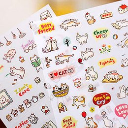 Wholesale Notepad Phones - Wholesale-Free Shipping Creative Cute PVC Cat Sticker for DIY Scrapbooking Diary Phone Sticker Products design paster kawaii stationary