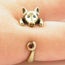 Wholesale Cute Girl China - 10pcs lot 2015 Hot Sale Cute Lucky Pig Animal Wrap Ring Fine Jewelry for Ladies and Girls JZ336
