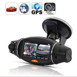 Wholesale Dual Ir Camera Car Dvr - 2.7 Inch Screen HD Dual Camera Lens Rear View Camera Recorder Car DVR IR Night with GPS Logger and GPS Sensor