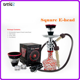 Wholesale Square Cigarette - Square e head ehead e hose mini shisha Square hookah head Cartridge Refillable ehookah Disposable Hookah 2400MAH Vaporizer E Cigarette Kit
