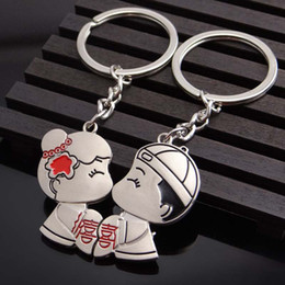 Wholesale Happy Anniversary Gifts - Chinese Wedding Gift Broken Child Kiss Keychains Cute Key Chain Key Ring Happy Valentine's Day Gift And Wedding Anniversary Present
