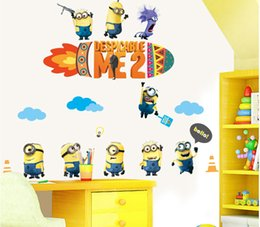 60 90 Minions Despicable Me Cartoon Wall Stickers Removable Pvc Wall Art Stickers Childrens Room Wall Decals Halloween Christmas Decorations