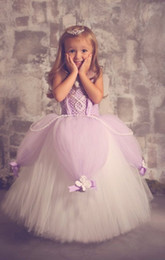 Wholesale Trendy Ball Gowns - Lavender Tutu Flower Girl Dresses 2016 Trendy Vintage Lace with Handmade Flowers Floor Length Kids Communion Princess Gowns Custom