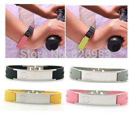 Wholesale Ionic Magnetic Sports - Wholesale-Titanium Ionic Magnetic Energy Bracelet Power Hologram Sports Ion Balance Silicone Tourmaline Fashion bracelet Wristband