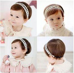Wholesale Baby Headbands Ribbon Lace - Baby Girls Headbands Korean lace Rhinestone Princess Headwear Kids Elastic Ribbon Hairbands Children Hair Accessories Headdress B11