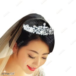 Wholesale Beauty Pageant Tiaras - Shinning Wedding Bridal Crystal Veil Tiara Crown Headband Hairwear Beauty Pageant Crown Headpiece In Stock Fast Delivery Hot