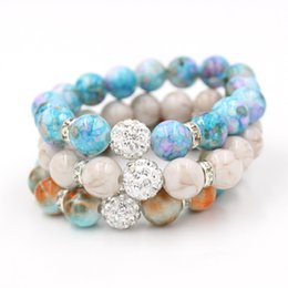 Wholesale disco balls bracelet - Free Shipping Bead Jewelry, Mix 3 Colors 12mm Shamballa Disco Ball Stretch Bead Bracelet 12mm Acrylic Bead Flex Bracelet for Women Gifts