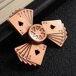 El más nuevo 4 Colores Retro Poker Hand spinner Aleación de Aluminio Metal Fidget Spinner Anti Stress EDC Finger Toy para el TDAH Autismo con Paquete al por menor desde fabricantes