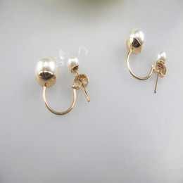 Wholesale Earing Steel - Hot Silver Plated Double Side Earing Fashion Jewelry Crystal Ball Stud Earrings Women Simulated Pearl Earrings Free Shipping