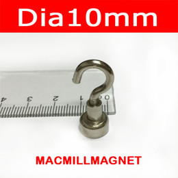 Wholesale Pot Cups - 2.2KGs Pulling Magnet Pot 10PCS Dia10mm with Hook Magnetic Cup Lifting Strong Magnet Neodymium Permanent Magnetic Holding Pot