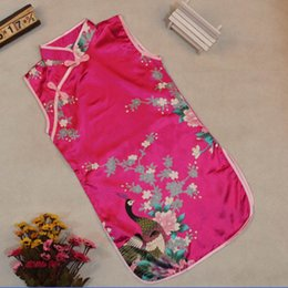 Wholesale Classic Chinese Clothing - Classic Girl Kid Baby Floral Cheongsam Dress Peacock Chinese Qipao Clothes