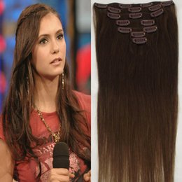 Wholesale Chocolate Brown Brazilian Hair - ELIBESS 160g 10pc set 4# chocolate brown 20inch 22inch 24inch full head high quality 7A brazilian human hair clips in extensions straight