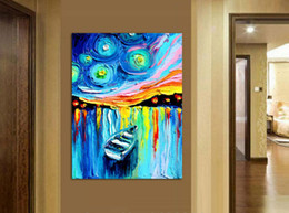 pannelli a torre eiffel Sconti stampato Master Starry Night Vincent Van Gogh stampe reputazione pittura ad olio su tela wall art per soggiorno A / 775