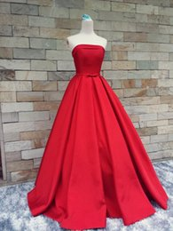 Wholesale One Shoulder Evening Dress Real - Real Photos Long Prom Dresses Formal Pageant Gowns With Ribbons Sexy Strapless Court Train Stain Elegant Evening Party Dress Red dresses