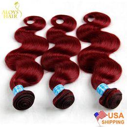 8A Borgoña Rojo peruano armadura del pelo Bundles peruana Virgen pelo onda del cuerpo vino rojo 99J Remy extensión del cabello humano tramas dobles grueso suave desde fabricantes